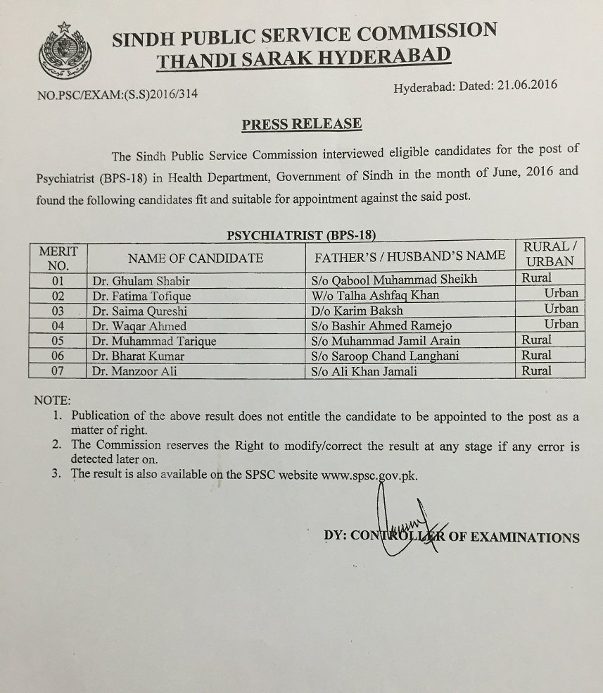 sindh public service commission post of psychiatrist bps 18 in health department govt of sindh